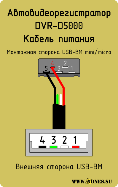 Распиновка зарядного шнура USB для авторегистратора DVR-D5000