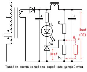 Типовая схема сетевого зарядного устройства