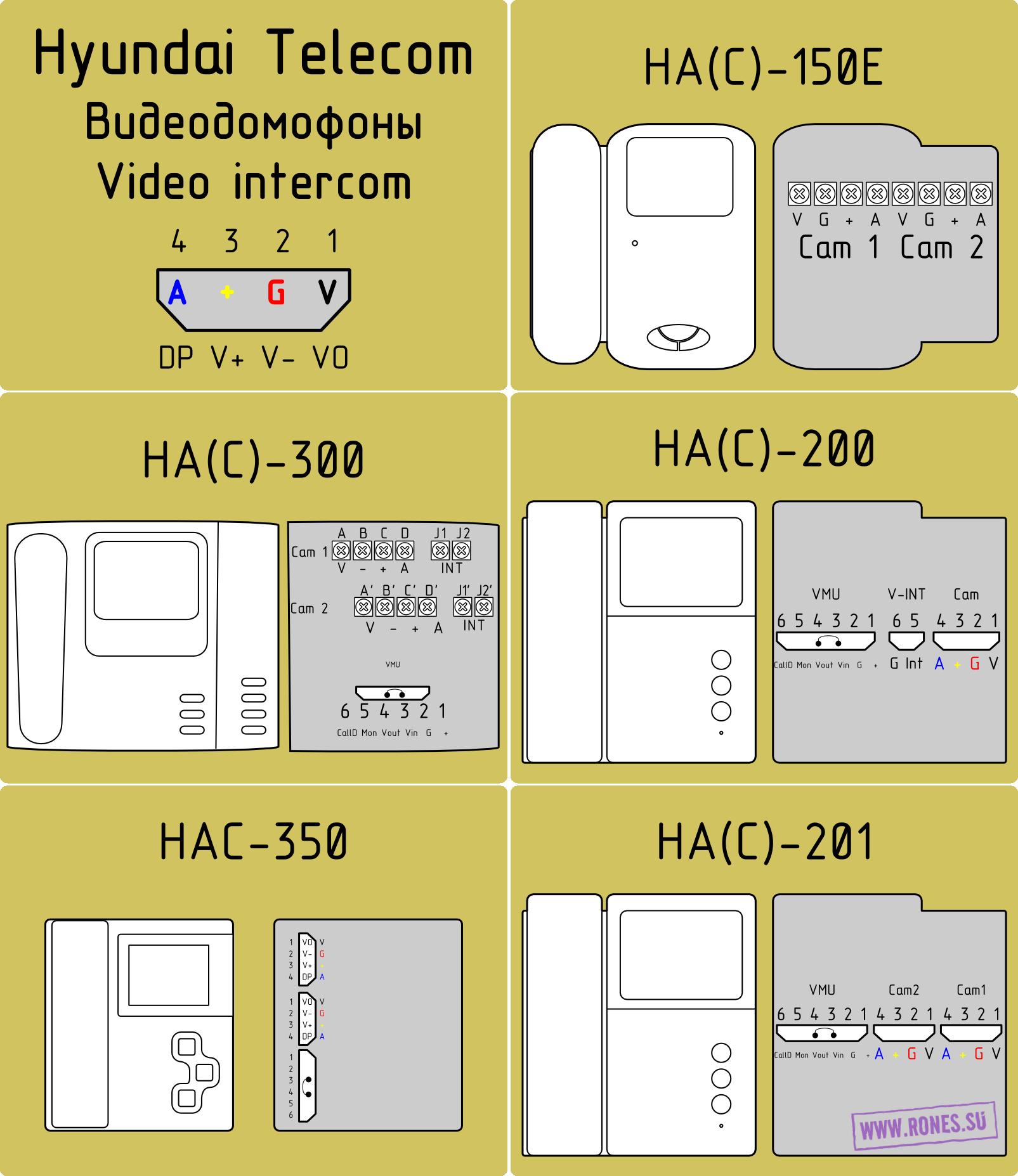домофон hyundai hac-150e схема