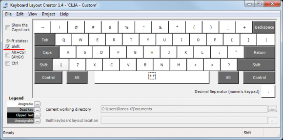 MS Keyboard Layout Creator значение клавиши при нажатом Shift