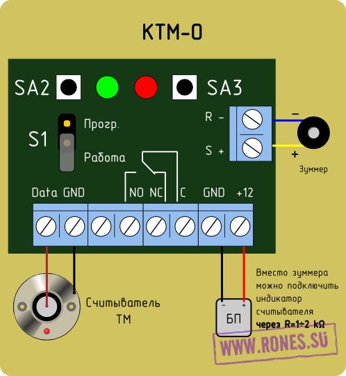 Схема подключения к контроллеру КТМ-О