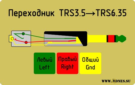 в вашем штекере TRS 6.35