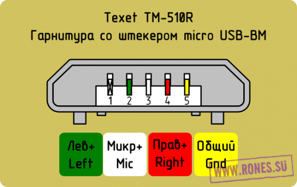 Texet TM-510R_micro-USB_headset