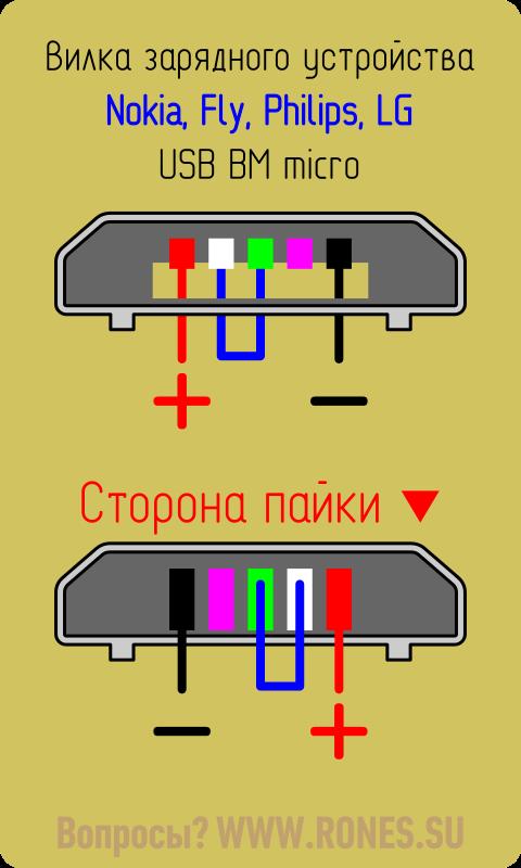 micro USB для зарядки Nokia, Адн, Phillips, LG, HTC